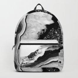 Gray Black White Agate with Black Silver Glitter #2 #gem #decor #art #society6 Backpack