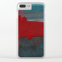 Blue and Red Abstract Clear iPhone Case