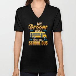 school bus driver school pilot job transport Unisex V-Neck