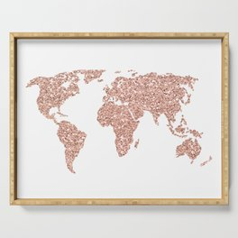 Rose Gold Glitter World Map Serving Tray