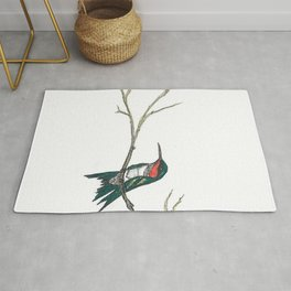 Hummingbird on a branch Rug