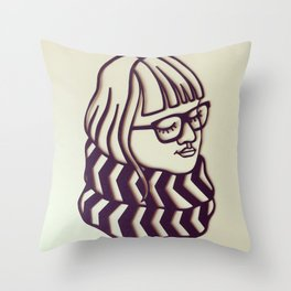Glasses & Scarf Throw Pillow