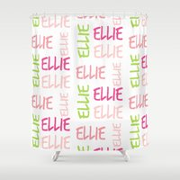 preppy Shower Curtains featuring Name Square Color Splash Preppy Pink by Drape Studio
