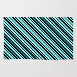 Electric Blue and Black Diagonal LTR Var Size Stripes Rug