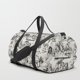 Alice in Wonderland | Toile de Jouy | Black and Beige Duffle Bag