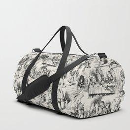 Alice in Wonderland | Toile de Jouy | Black and Beige Duffle Bag
