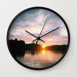 Northbound Sunset Wall Clock