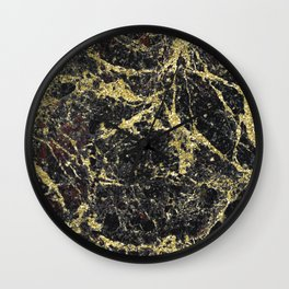 Marble - Glittery Gold Marble on Black Design Wall Clock