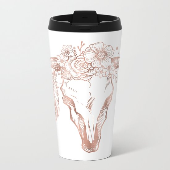 Rose Gold Bull Skull with Pink Feather Flowers Metal Travel Mug