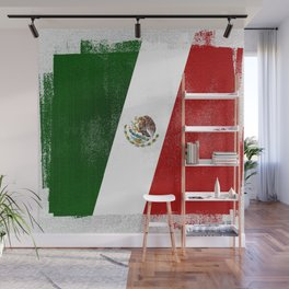 Mexican Distressed Halftone Denim Flag Wall Mural