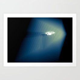Car in quantum lighting Art Print