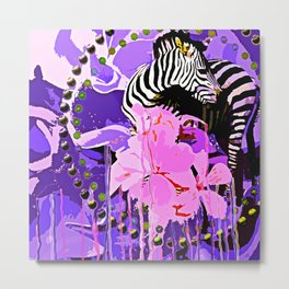 Zebras and Flowers Metal Print