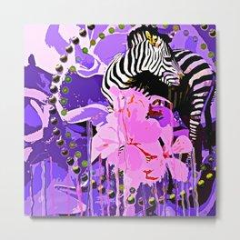 Zebras and Flowers Metal Print