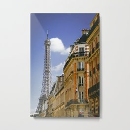Eiffel Tower seen from the streets of Paris, France. Metal Print