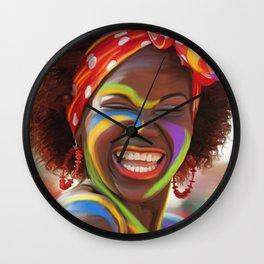 Life's a Carnival (Carnaval de Barranquilla) - Negrita Puloy Impressionism - Magical Realism Wall Clock