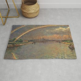 Double Rainbow Over Seine River & Eiffel Tower, Paris, France by Gaston Prunier Rug