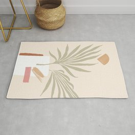 Tropical abstraction, mix of leafs and shapes Rug