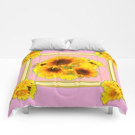 MODERN PINK YELLOW SUNFLOWER BOUQUETS Comforters
