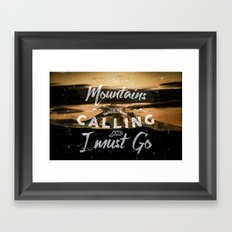 Mountains Trees Forest Fog - Mount Hood Rising - Text Prose tapestry - mountains are calling Framed Art Print
