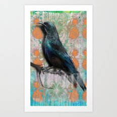 Orange flowers bird Art Print