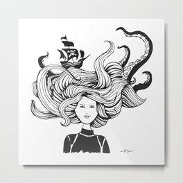 """ Sea Battle"" Hair Metal Print"