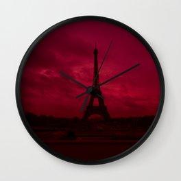 Dramatic Red Sky Eiffel Tower Paris France Wall Clock
