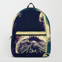 british shorthair cat ready to attack vector art foggy night Backpack