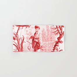Chinoiserie Toile in Red Hand & Bath Towel