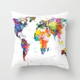 world map political watercolor 2 Throw Pillow