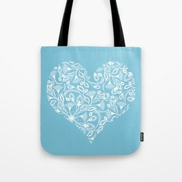 Floral Heart in Blue Tote Bag