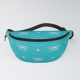 Bee Stamped Motif on Pool Blue Fanny Pack