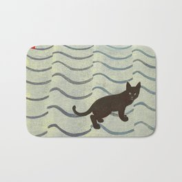 Aoyama Masaharu Japanese Woodblock Print Black Cat On Water Vintage traditional Art Bath Mat