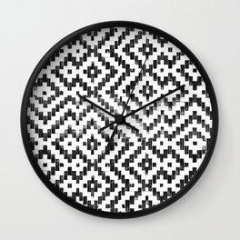 Weave Pattern Bali Black White Monochrome Wall Clock