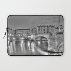 Bonaparte bridge in Lyon, France - hdr b&w Laptop Sleeve