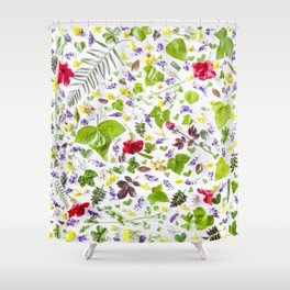 Leaves and flowers pattern (27) Shower Curtain
