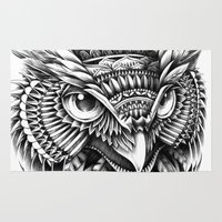ornate Area & Throw Rugs featuring Ornate Owl Head by BIOWORKZ