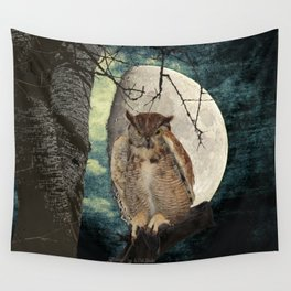 Great Horned Owl Bird Moon Tree A138 Wall Tapestry