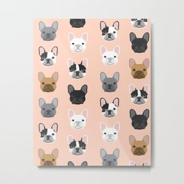 French Bulldog portraits pattern dog person gift love animal pet puppy frenchie bulldog portrait Metal Print