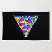 triforce Area & Throw Rugs featuring Fractal Triforce by Geometry111
