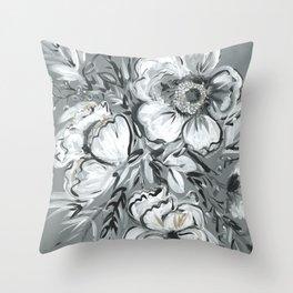 Gray Bouquet Throw Pillow
