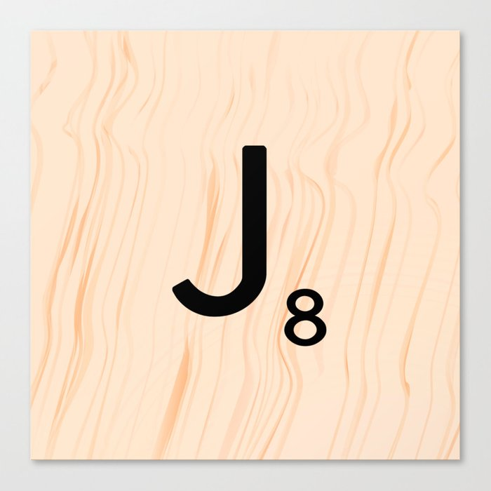 Scrabble Letter J - Large Scrabble Tiles Canvas Print