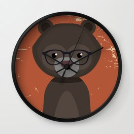 Hipster Bear Wall Clock