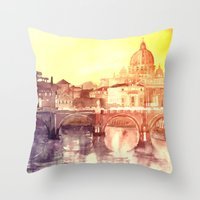 jenny liz rome Throw Pillows featuring Rome by takmaj