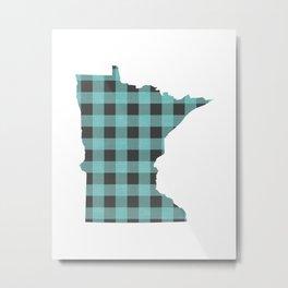 Minnesota Plaid in Teal Metal Print