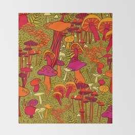 Mushrooms in the Forest Throw Blanket