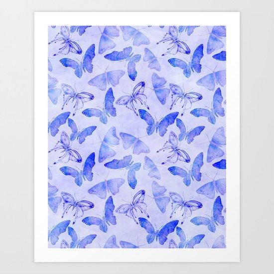 Purple Watercolor Butterfly Pattern Art Print