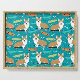 corgi skateboard dog, dog - corgi, corgi blanket,corgi decor, corgis, cute dog Serving Tray
