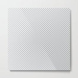 Glacier Gray and White Polka Dots Metal Print