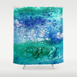 Colors of the Sea No.3 / acrylic pour art Shower Curtain