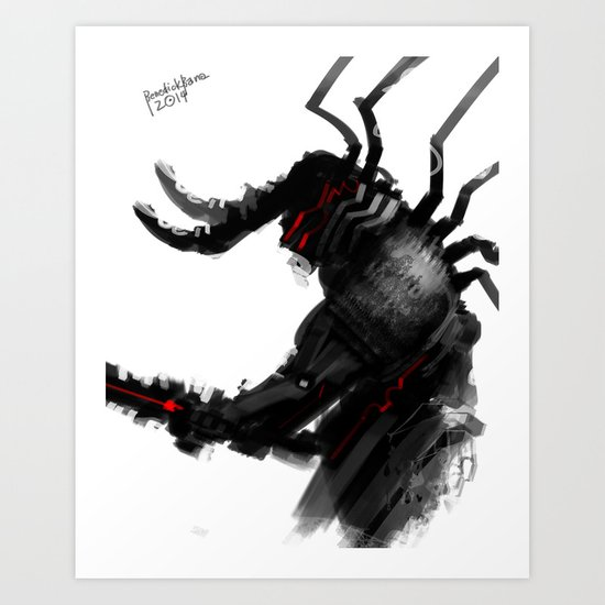 Darkfall Black and White B Art Print